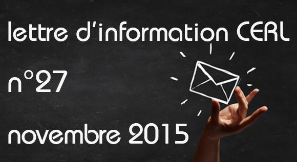Lettre d'information CERL Novembre 2015