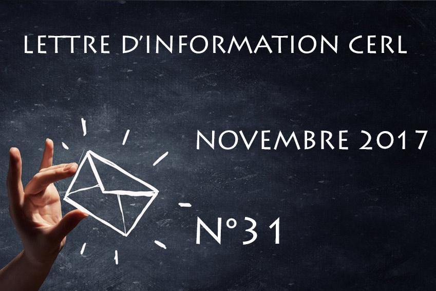 Lettre d'information CERL N°31 - Novembre 2017