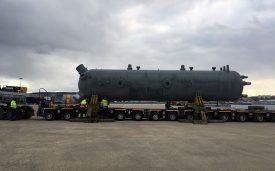 CERL a réalisé le transport de deux réchauffeurs du port de Cherbourg jusqu'au site EDF Flamanville